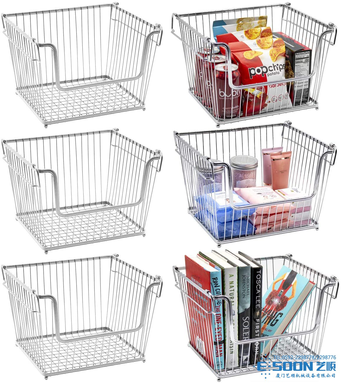 Sorbus Wire Metal Basket Bin, Stackable Storage Baskets, Cubby Bins for Food, Kitchen, Home, Pantry Snack, Vegetable, Potato, Onion, Laundry Room, Office, Farmhouse, Chrome (6-Pack, Silver)